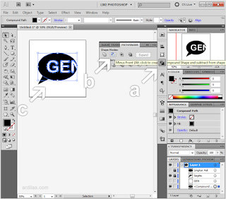 a. Pathfinder | b. Minus Front | c. Pemotongan - Cara Memotong Gambar Dengan Teks Tulisan - Illustrator AI