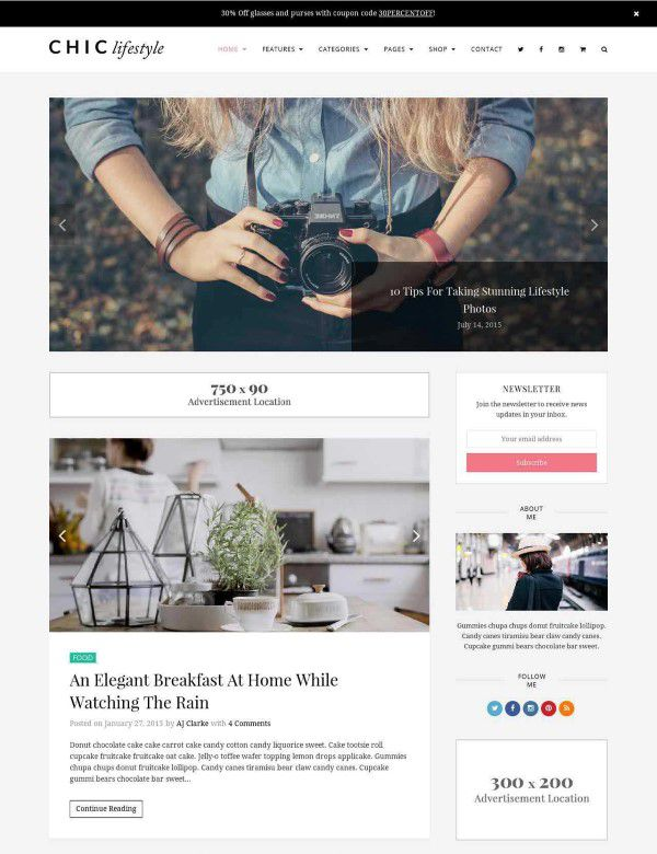 Chick WP theme for lifestyle blog