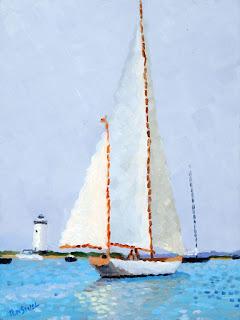 """Sail at Dusk, oil on canvas, 9"""" x 12"""""""