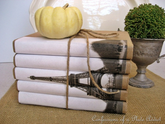 Eiffel tower book bundle--create a set of books with a picture spanning the spines of the books