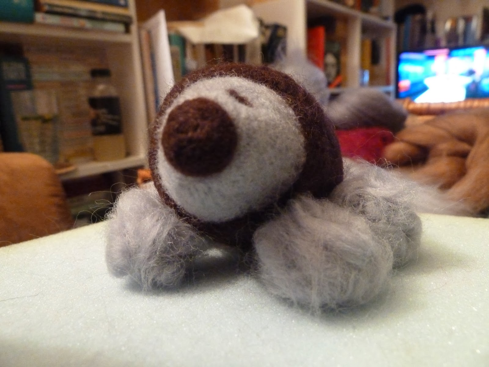 Needle felting hedgehog