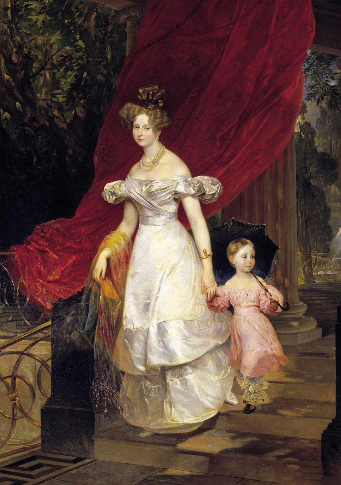 Karl   riullov  Portrait  of  the  Great  Princess  Elena  Pavlovna  with  Daughter  Mariya C