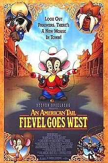 Poster for An American Tail: Fievel Goes West 1991 animatedfilmreviews.blogspot.com