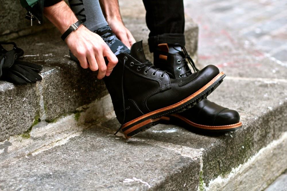 Cayler & Sons camo socks chaussettes - leather cuir bracelet ANtonio Ben CHimol - Clarks x Norton Boots - blog mode homme mensfashion