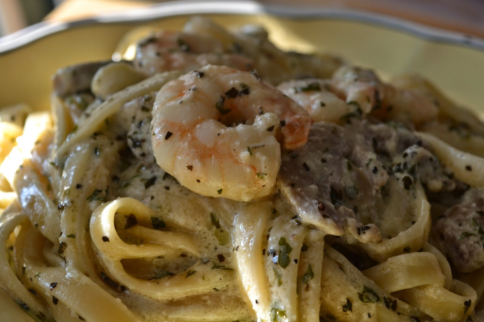 Shrimp And Mushroom Fettuccine With Corn And Pancetta Recipe ...