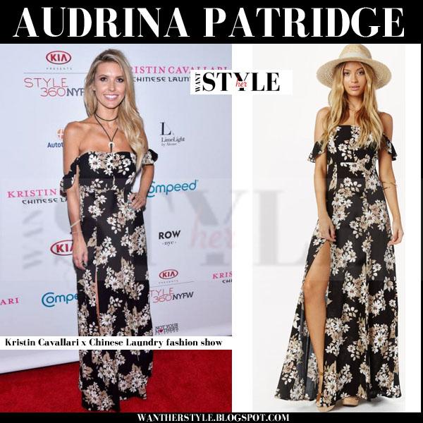 Audrina Patridge in black floral print maxi dress flynn skye bardot what she wore front row