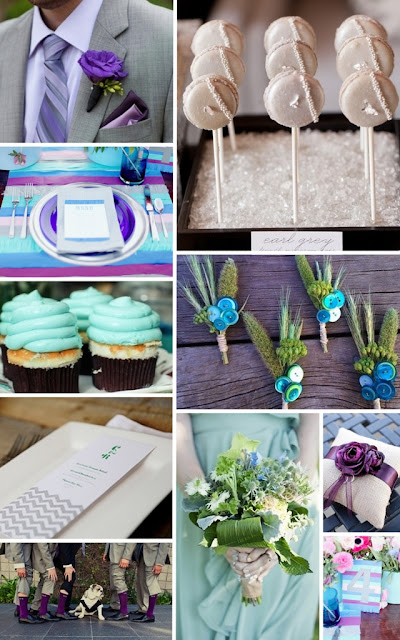 Blue, aqua, green, purple, and grey wedding inspiration board