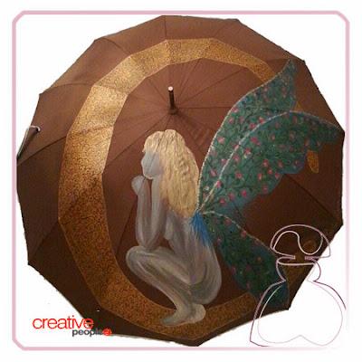 Paraguas modelo Hada pintado a mano por Sylvia López Morant