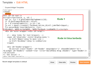 Penempatan Kode Fan Page di Blog