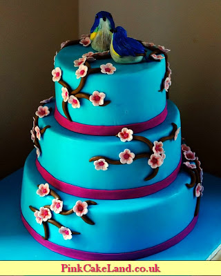 wedding blue cake - london patisserie
