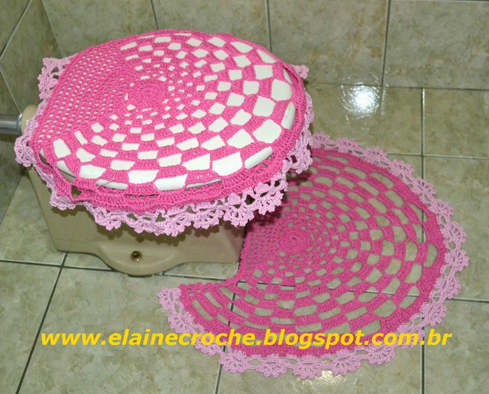 Elaine Croche Jogo de Banheiro Lyra em Crochê  4 Peças  Vídeo Aula Crochê -> Jogo De Banheiro Simples Passo A Passo