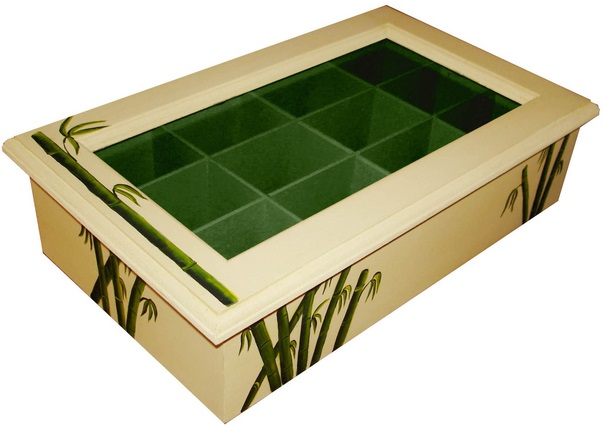 Caja de madera con tapa de vidrio