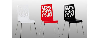 contemporary plastic kitchen chairs in red black and white