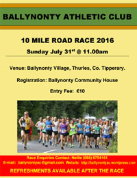 10 mile road race nr Thurles in Tipperary...Sun 31st July