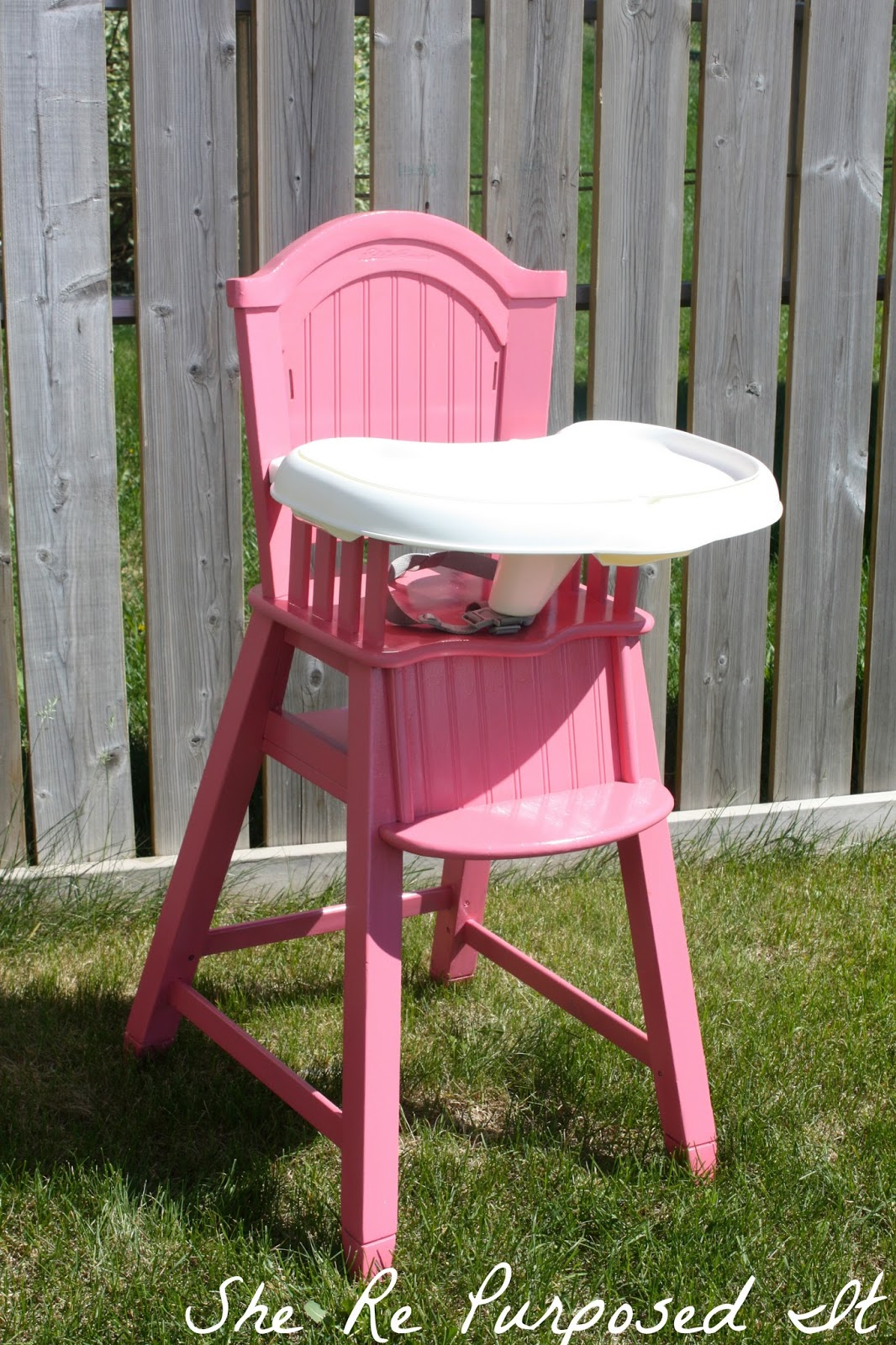 Painted wooden high chair - Pink Highchair