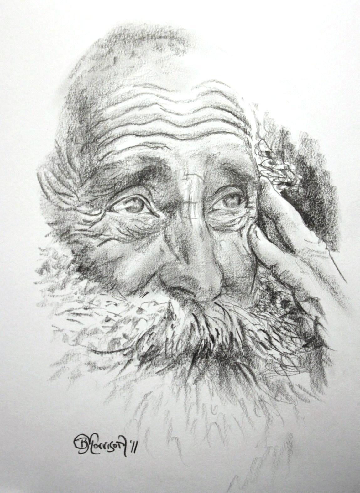 Rysunek starego mądrego człowieka/drawing of wise old man