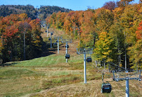 Gore's gondola and near-peak foliage on Saturday 09/28/2013.  The Saratoga Skier and Hiker, first-hand accounts of adventures in the Adirondacks and beyond, and Gore Mountain ski blog.