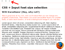 Input font size selection