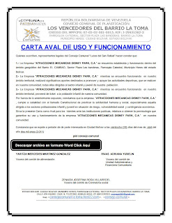 Carta aval para autorizar el funcionamiento de un parque de atracciones mecánicas en la comunidad