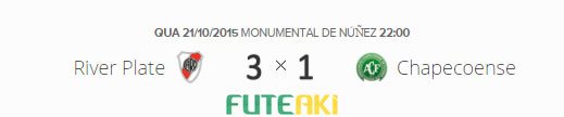 O placar de River Plate 3x1 Chapecoense pelas quartas de final da Copa Sul-Americana 2015