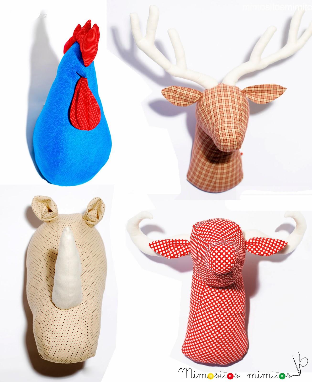 cabeza rinoceronte tela decoración interiorismo casa decoration home hecho a mano handmade rhino ciervo deer toro bull gallo