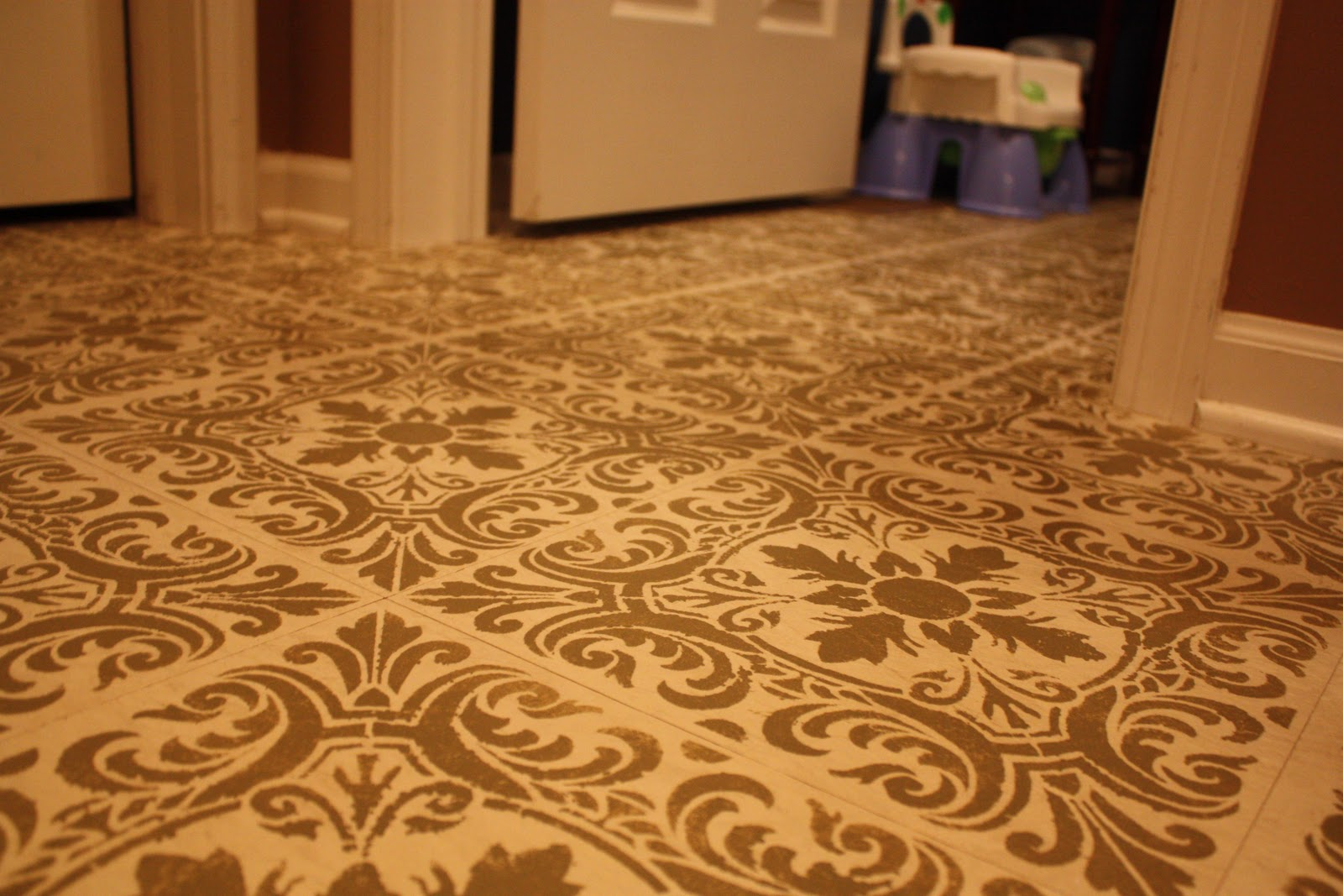 Transforming Home My Stenciled Floor Skirted Buffet