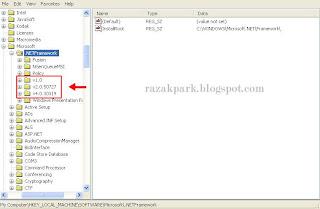 razakpark.blogspot.com - cara melihat versi net framework