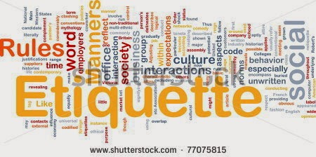 Multicolored word cloud around the word Ettiquette