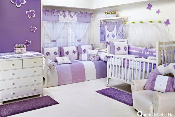 Quartos de meninas bebês veja decorações lindas! Decor  ~ Quarto Casal Lilas E Branco