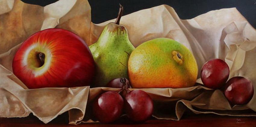 Cuadros pinturas oleos dibujos de bodegon de manzanas for Pinturas bodegones modernos