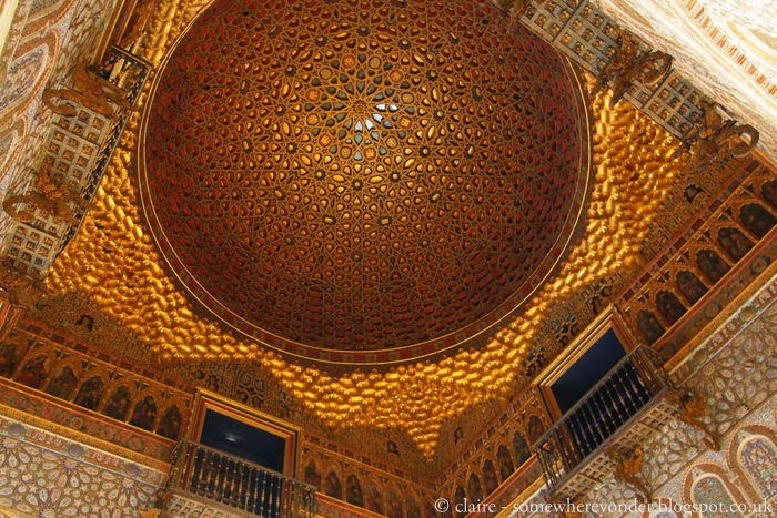 Golden ceiling in the Hall of Ambassadors - Alcázar of Seville