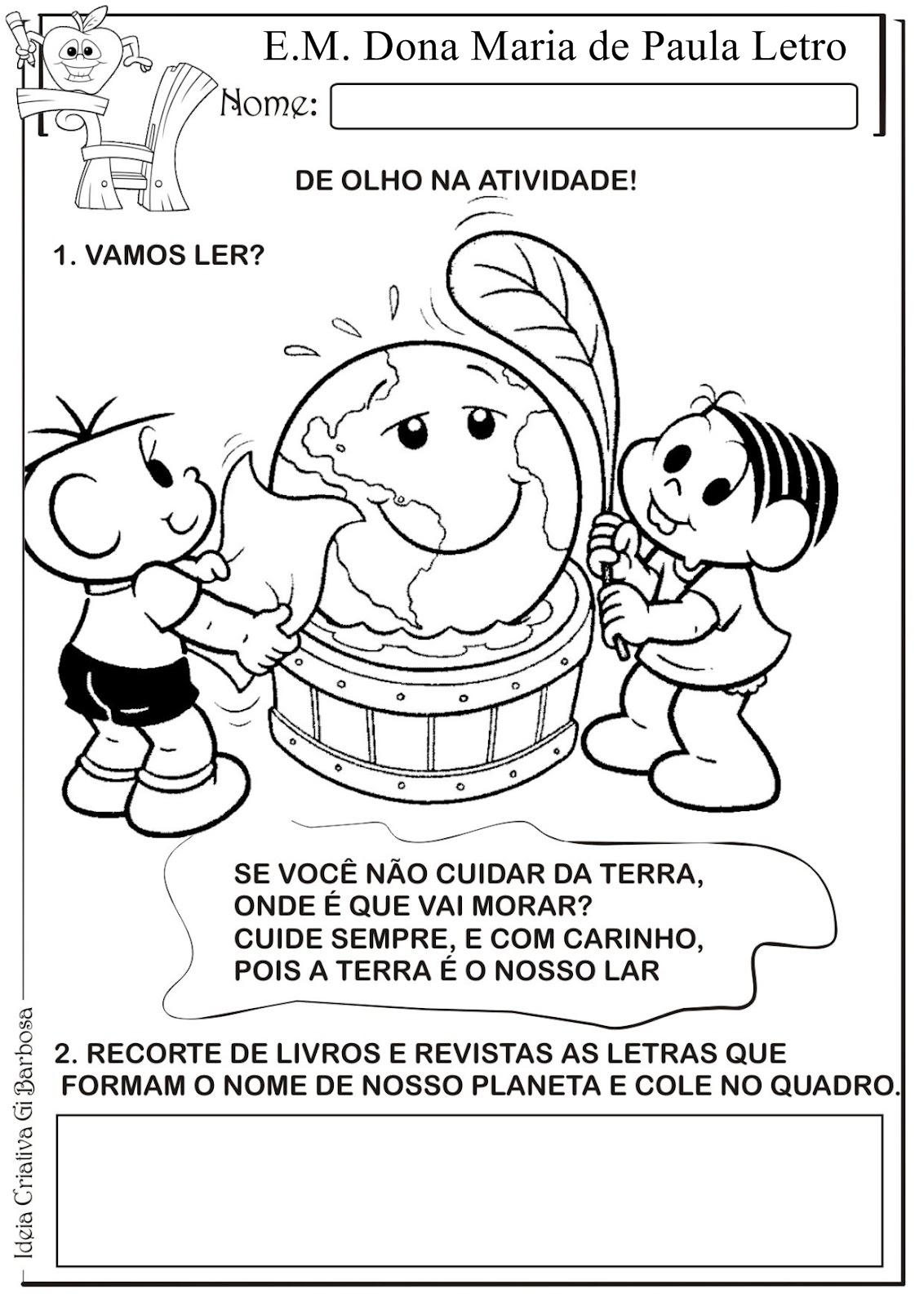 Plano de aula 1 e 2 per odo da ed infantil arm rio do for Mural sobre o meio ambiente