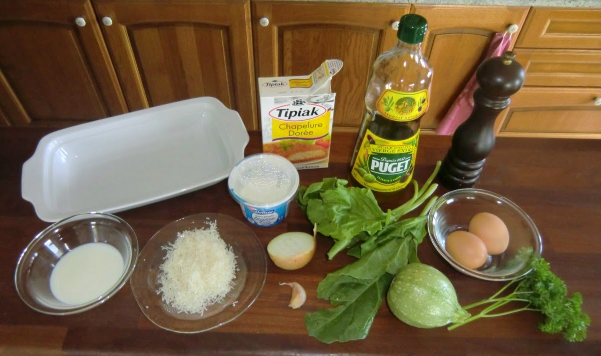 Ingredients for 2 servings of tian de courgettes