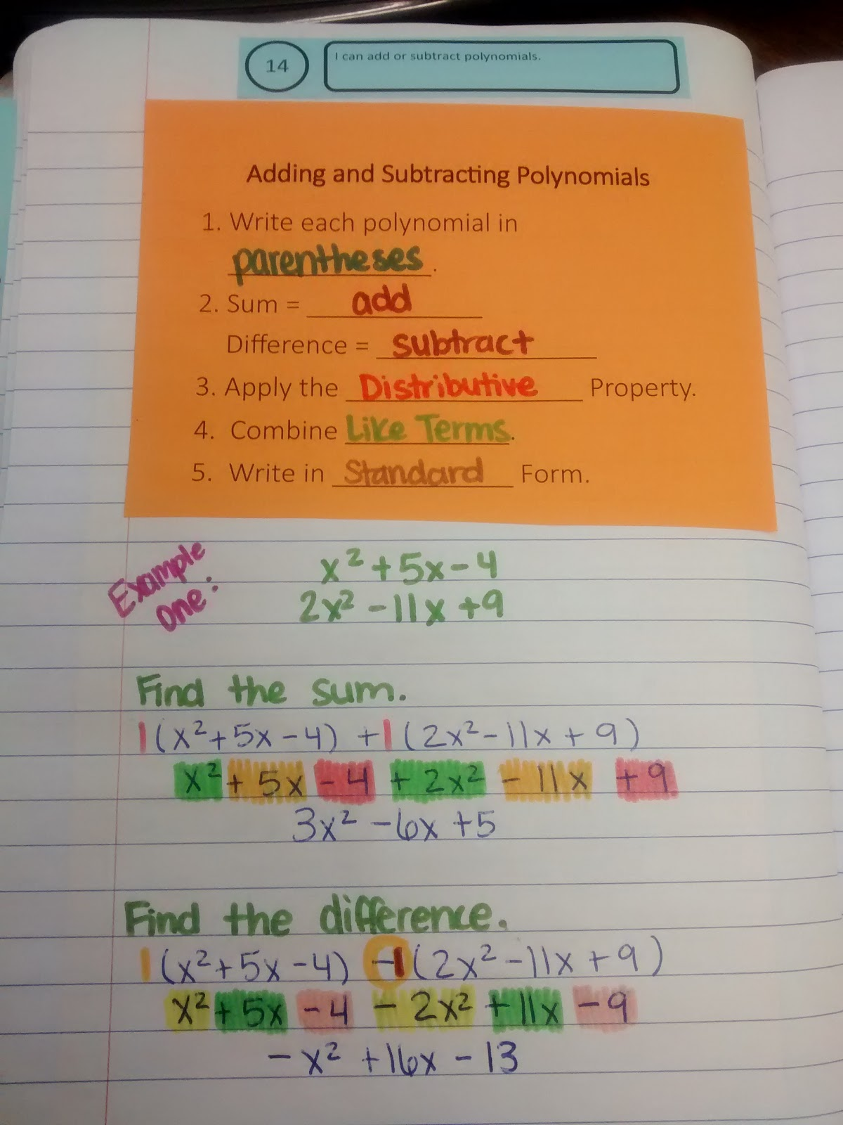 worksheet Adding And Subtracting Polynomials math love adding and subtracting polynomials notes notes