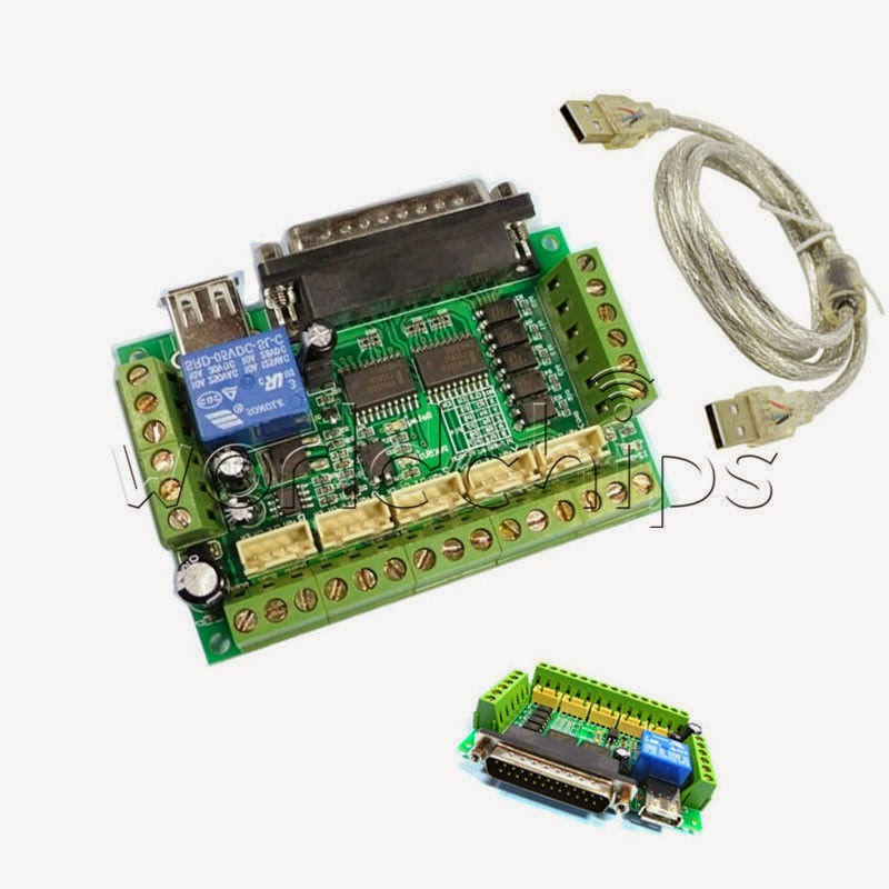 5 axis CNC Breakout Board with optical coupler For Stepper Motor Driver MACH3