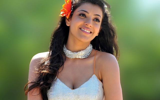 Kajal Agarwal Actress Cute looking in white dress HD wallpaper 2560X1600 hot telugu actress
