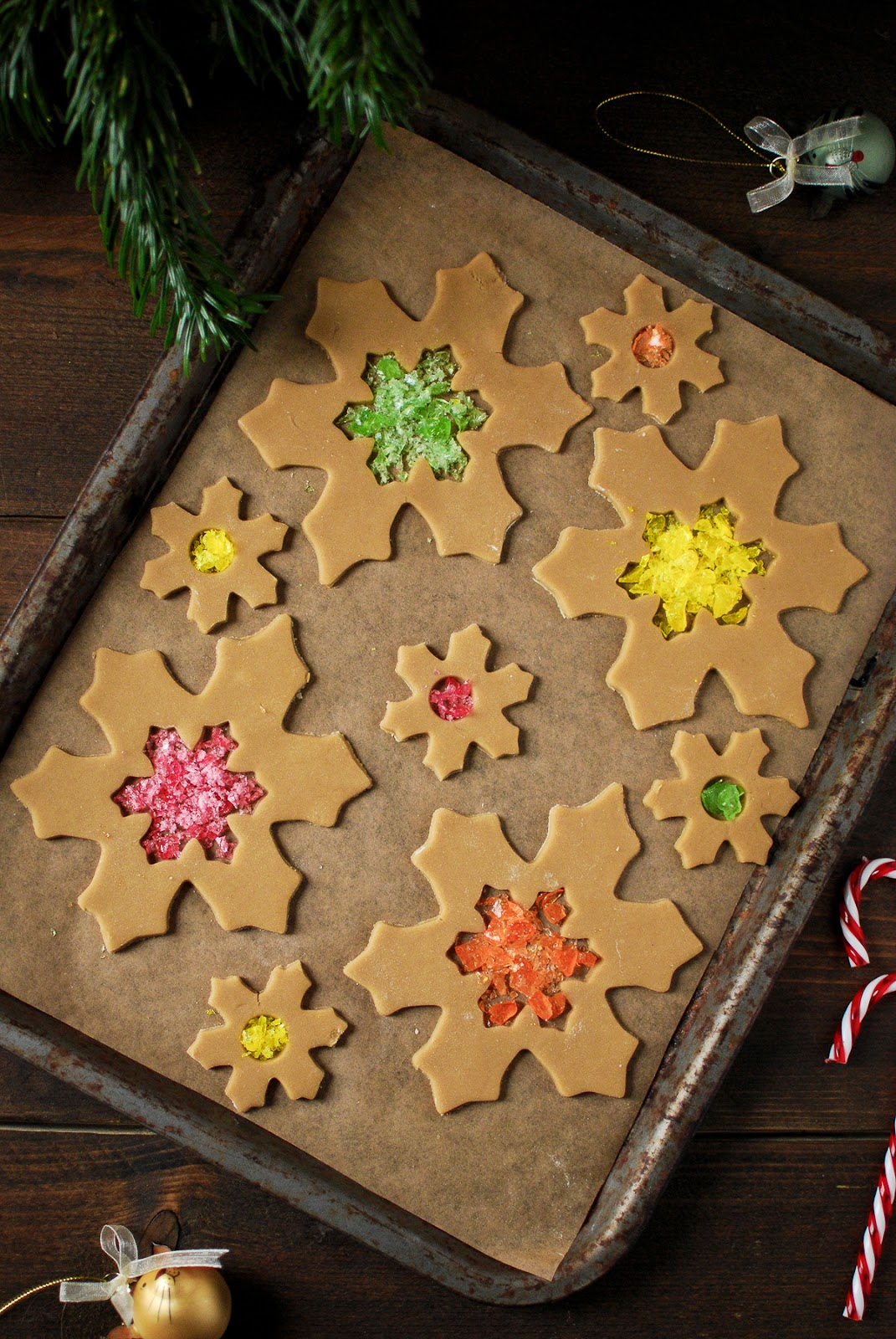 Stained glass cookies perfect for hanging from your Christmas tree
