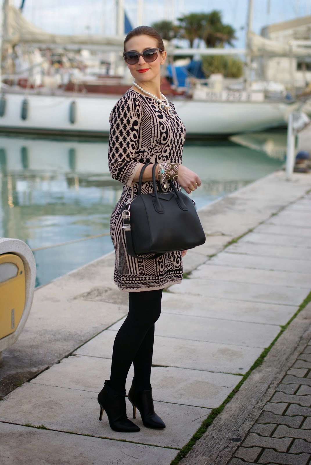 Sweewe baroque print dress, Givenchy Antigona bag, Giampaolo Viozzi shoes, Fashion and Cookies, fashion blogger