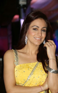 Actress Aksha Pardasany Latest Pictures in Yellow Saree at Dr Salim Audio Launch  45