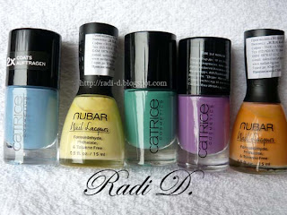 Catrice 'Up in the air', Nubar 'Lemon Sorbet', Catrice 'Jade is not my name', Catrice 'Lucky in lilac', Nubar 'Orange creme'
