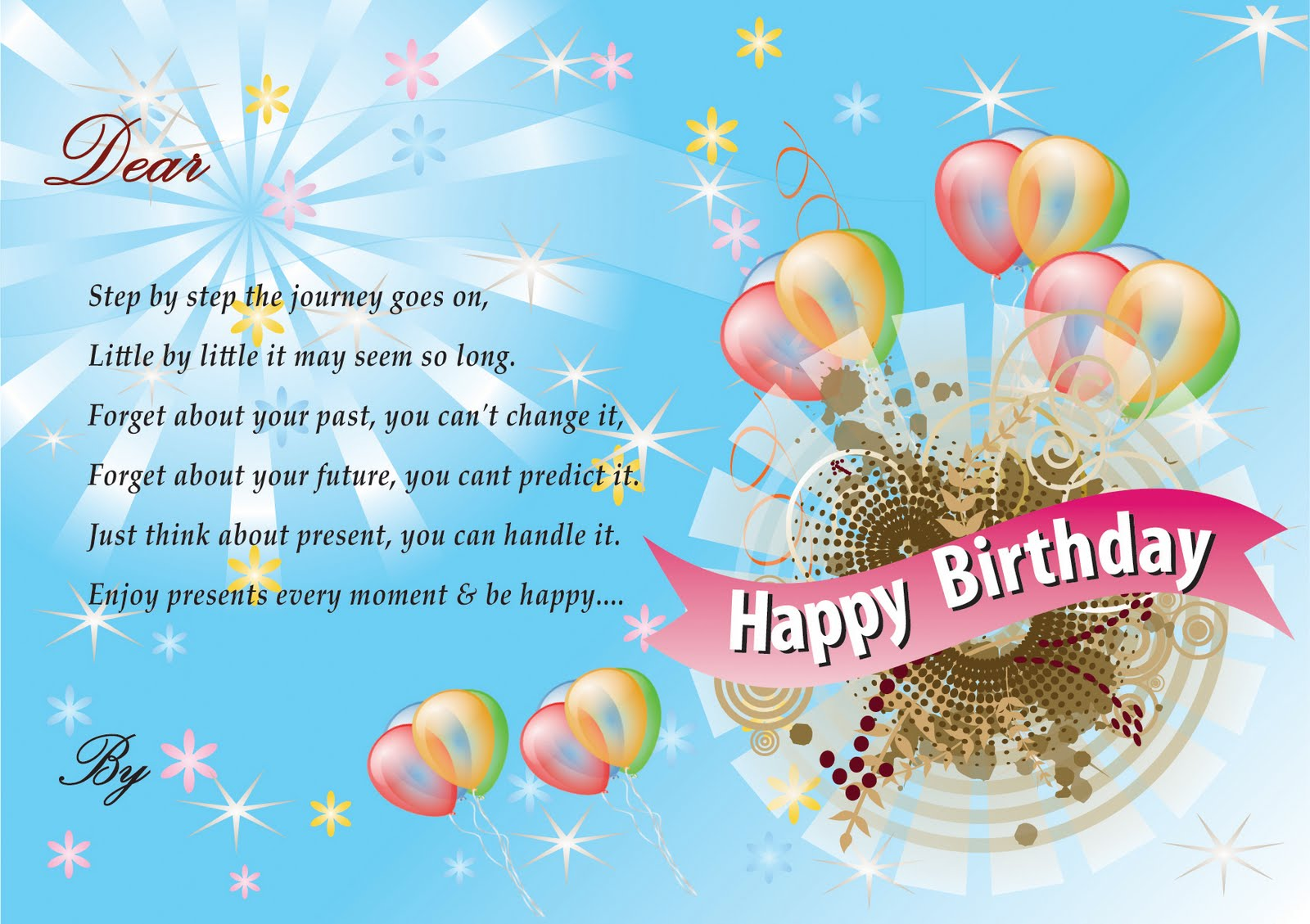birthday greeting cards With Balloon | Multimedia Graphic Designer