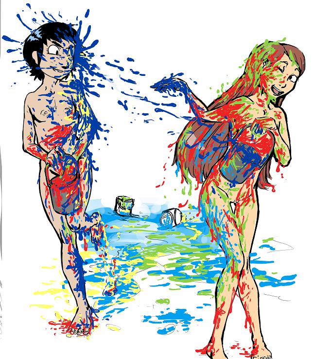 Kat Annie paintfight 34