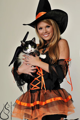 Sexy witch Sherri Chanel with cat