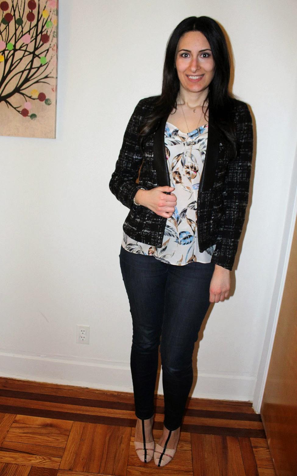 Zara Leather Trim Blouse 117