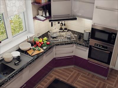 cocina y comedor pequeño acentos berenjena