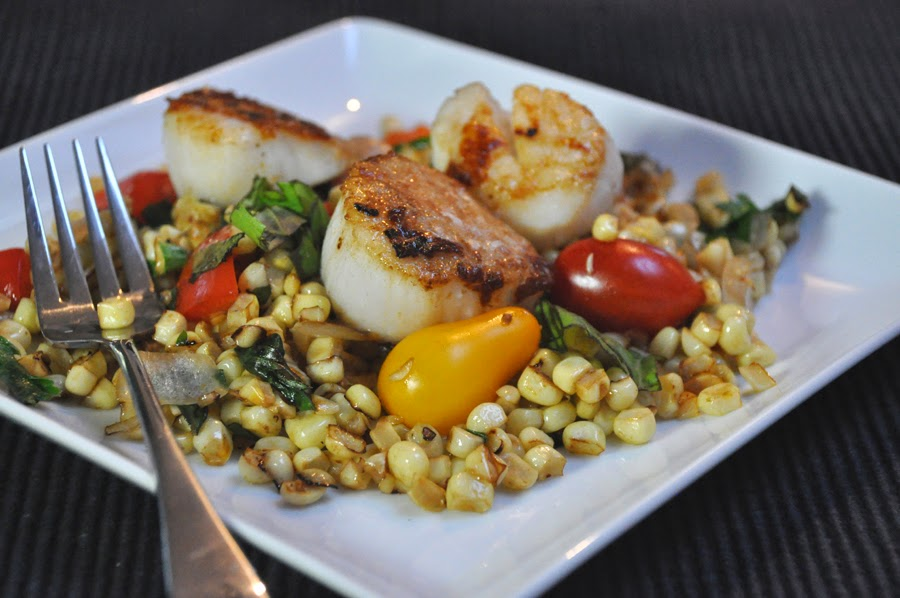 Scallops with Roasted Corn and Tomatoes