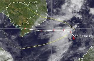 Taifunsaison Westpazifik: Tropische Depression 25W (potenziell Tropischer Sturm WASHI) zieht voraussichtlich nach Vietnam, Washi, Vietnam, Kambodscha, Thailand, Satellitenbild Satellitenbilder, Dezember, 2011, aktuell, Taifunsaison, Pazifik,