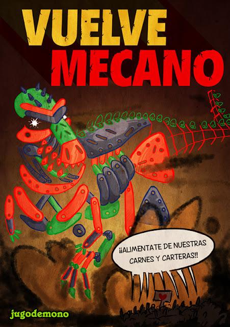 Tiranosaurio Rex hecho de mecanos volviendo de entre los muertos frente a una muchedumbre de fans de Mecano (grupo musical formado por Ana Torroja y los hermanos Cano) ofreciendose para ser sacrificados tanto carnal como economicamente. Ilustración Digital Humoristica por jugodemono