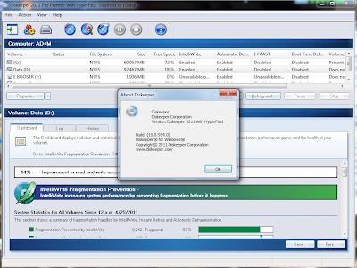Diskeeper 2011 menu