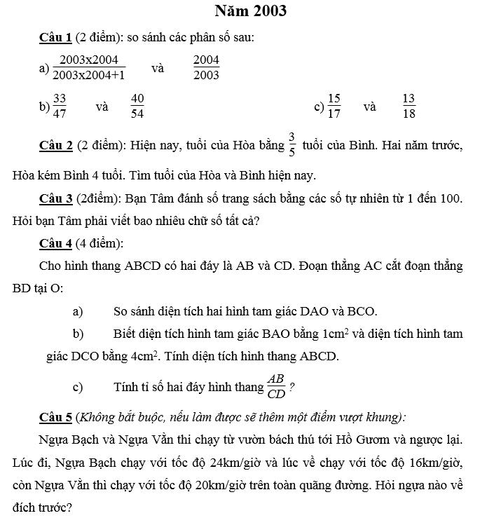 Đáp án đề thi vào lớp 6 môn toán Merie curie năm 2003 - 2004